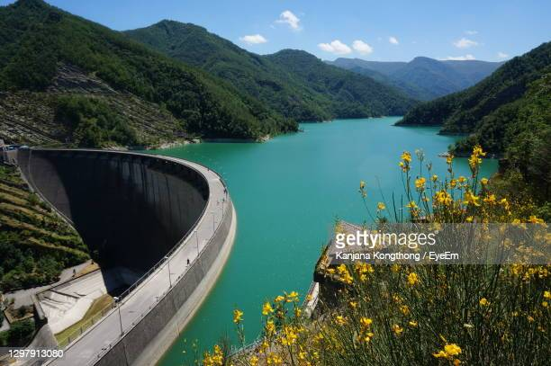 beautiful dam in ridracoli,  italy during summer with green water in lake and blue sky background - kanjana kongthong foto e immagini stock