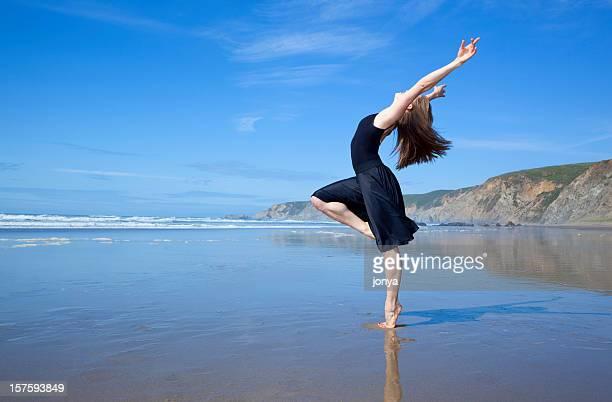 beautiful dancer at the beach