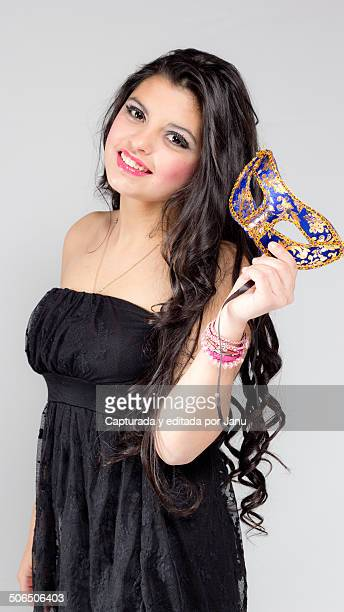 beautiful dark-haired teenage girl in studio - one teenage girl only stock pictures, royalty-free photos & images