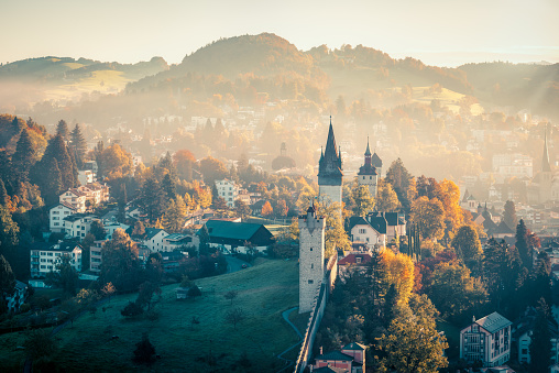 Beautiful dawn in Lucerne city, Switzerland - gettyimageskorea