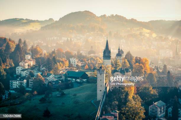 beautiful dawn in lucerne city, switzerland - switzerland stock pictures, royalty-free photos & images
