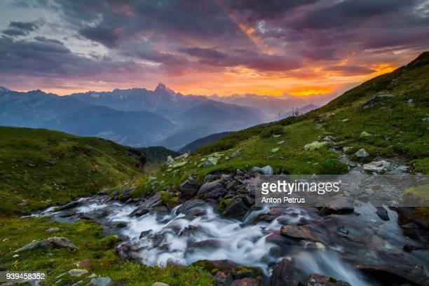 Beautiful dawn over the mountains. Caucasus, Georgia