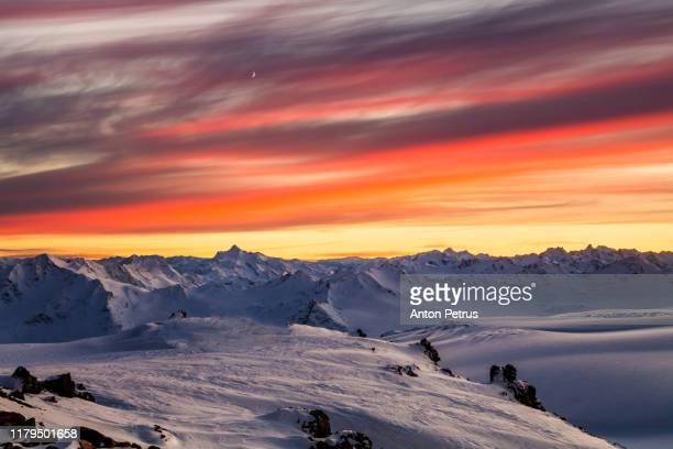 beautiful dawn over the mountains. caucasus, russia - コーカサス ストックフォトと画像