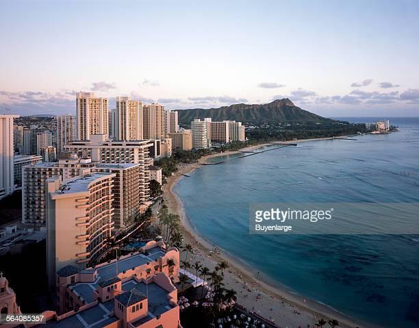 Beautiful day below Diamond Head at Waikiki Beach in Honolulu, Hawaii