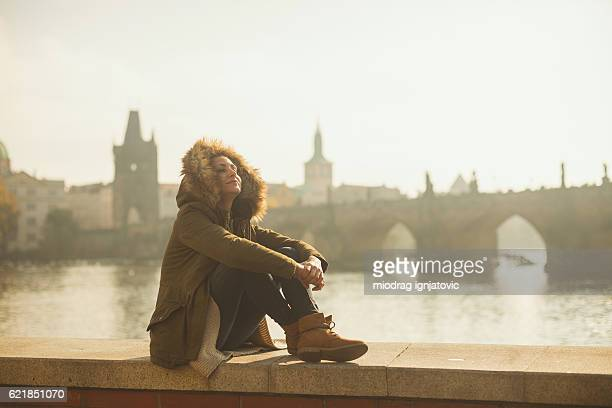 beautiful day in prague - beautiful czech women stock photos and pictures