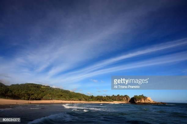 beautiful day, klayar beach, pacitan , java. - east java province stock photos and pictures
