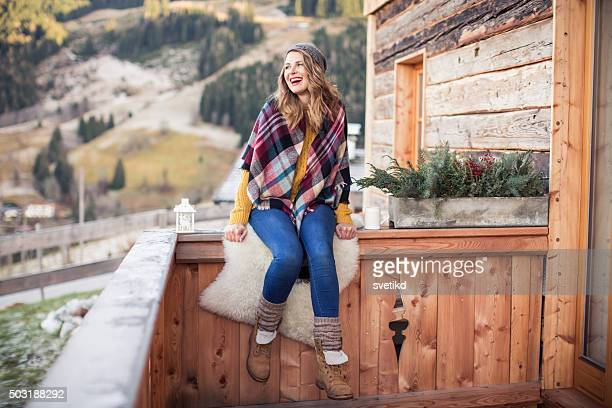 beautiful day on mountain - mid adult woman sweater stock pictures, royalty-free photos & images