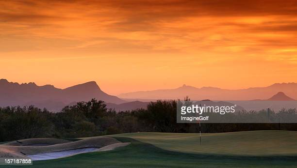 Beautiful Desert Golf Course at Sunset
