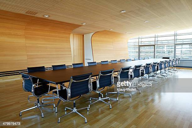 beautiful designed empty boardrooom - conference table stock pictures, royalty-free photos & images