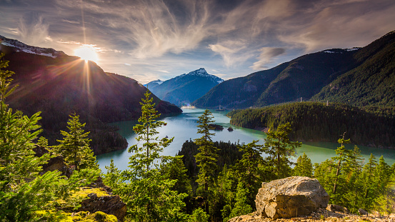 Beautiful Diablo Lake is a reservoir in the North Cascade mountains of northern Washington state, United States. 689114978