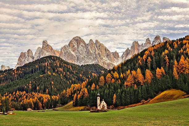 Beautiful Dolomites Landscape In Autumn And Little Church, Italy Wall Art