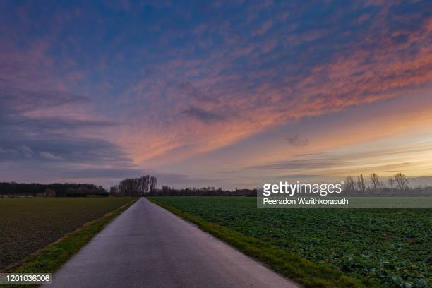beautiful dramatic orange and blue cloud and sky after storm and rain over agricultural field and road on countryside area in germany. phenomenon of sky turn pink. nimbostratus cloud during sunset. - light natural phenomenon stock pictures, royalty-free photos & images