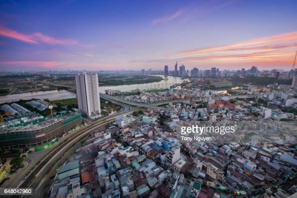 Beautiful Dusk over Saigon, Ho Chi Minh city - the biggest city in Vietnam.