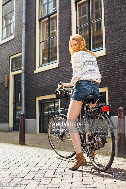 Beautiful Dutch woman on bike