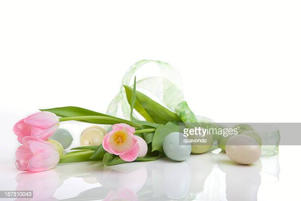 Beautiful Easter Eggs and Tulips on White, Copy Space
