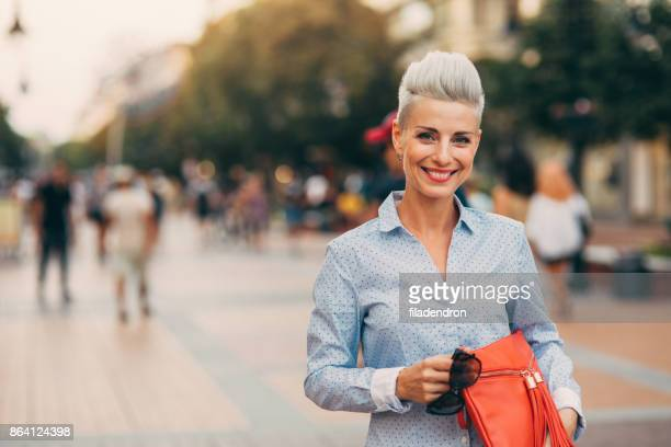 beautiful elegant middle aged woman - white hair stock pictures, royalty-free photos & images