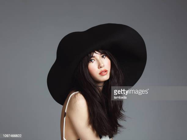 beautiful elegant woman with hat - big beautiful black women stock photos and pictures