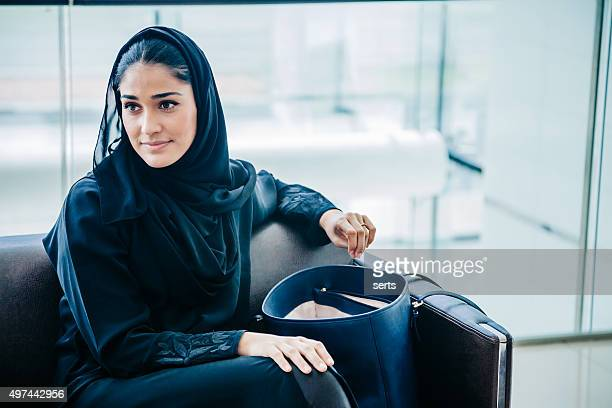 Beautiful Emirati woman at lounge