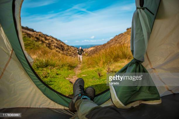 beautiful english countryside landscape view seen from inside a tent - tourism stock pictures, royalty-free photos & images
