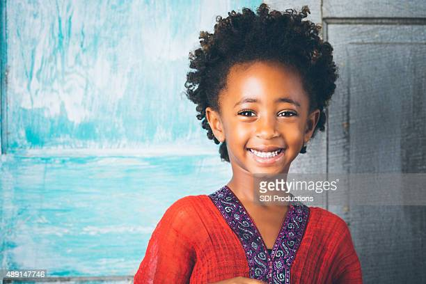 Beautiful Ethiopian elementary age girl in traditional dress