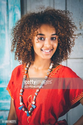 Beautiful Ethiopian Woman With Curly Hair In Traditional Clothing Stock Photo Getty Images