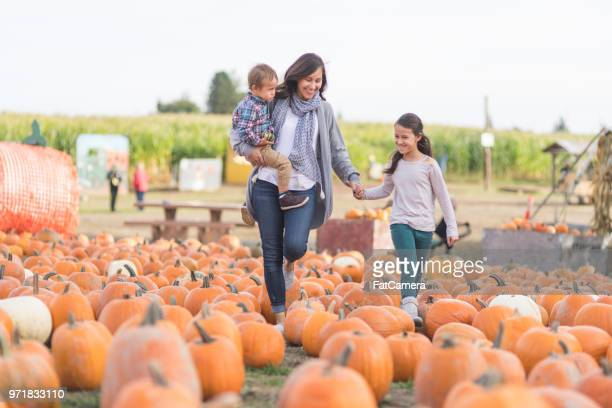beautiful ethnic mom and her daughters at the pumpkin farm! - pumpkin stock pictures, royalty-free photos & images