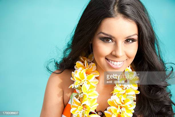 beautiful ethnic woman with lei - beautiful polynesian women stock photos and pictures