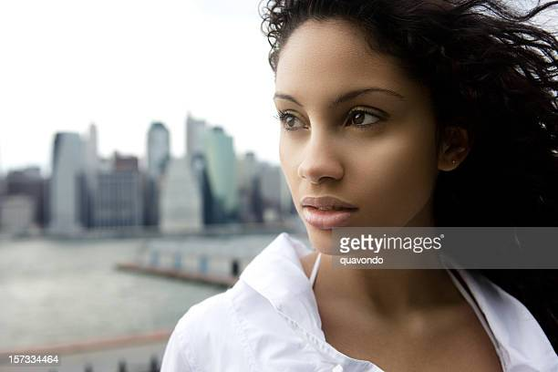 Beautiful Ethnic Young Woman Portrait Outdoors in New York, Copyspace