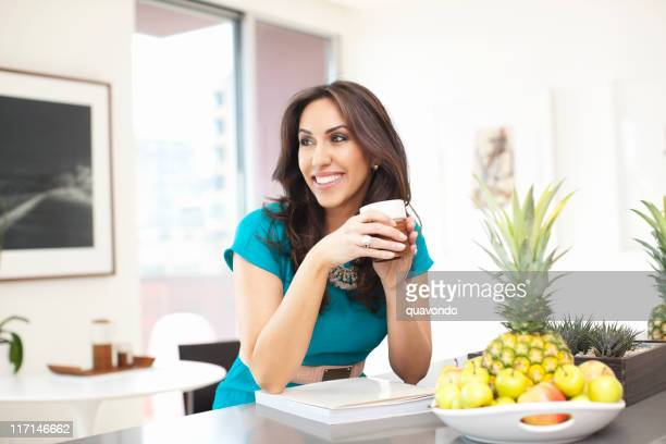 Beautiful Ethnic Young Woman Portrait with Coffee Cup, Kitchen, Copyspace