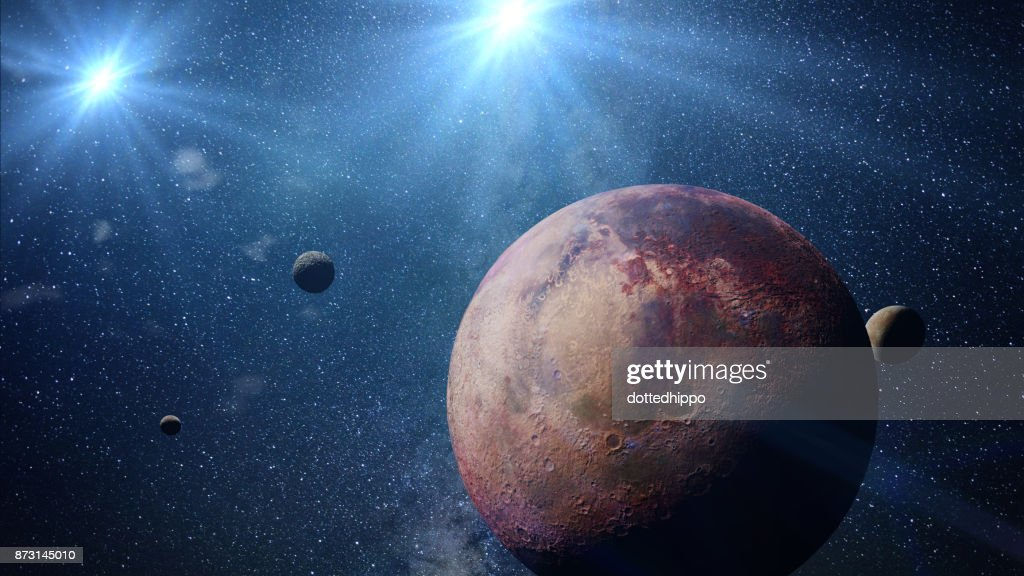 beautiful exoplanet with exo-moons orbiting an alien binary star system (3d space illustration, elements of this image are furnished by NASA) : Stock Photo