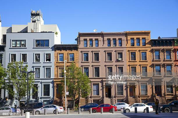 beautiful facades of harlem townhouses, nyc - harlem stock pictures, royalty-free photos & images