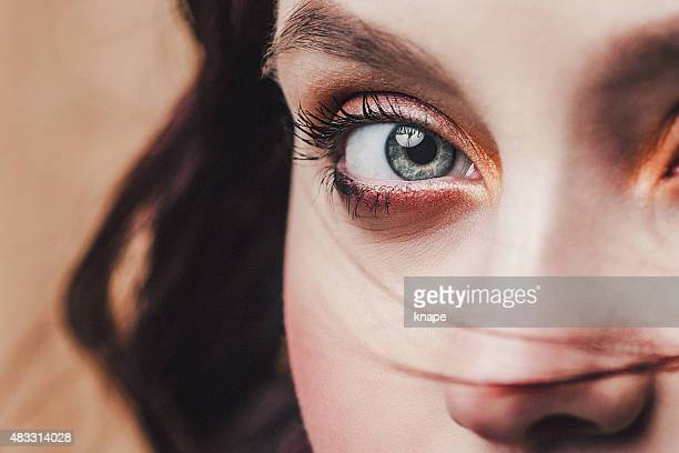 beautiful face and eye close up - eye make up stock photos and pictures
