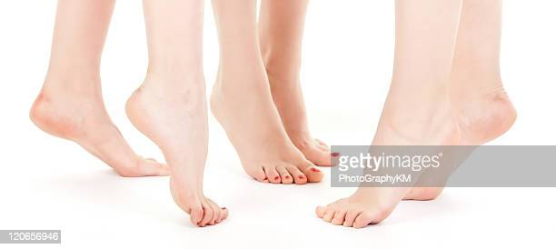 beautiful female barefoot - beautiful female feet stock photos and pictures