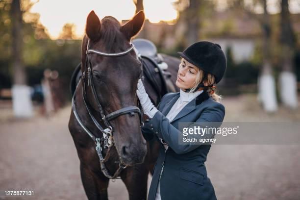 乗馬学校でトレーニングした後、彼女の馬を抱きしめる美しい女性騎手 - 動物調教師 ストックフォトと画像