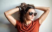 portrait beautiful female model posing sunglasses