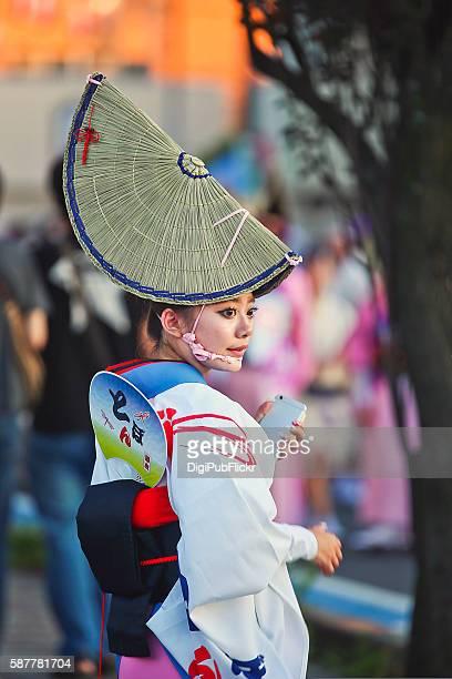 beautiful female participant of the 40th kanagawa yamato awaodori - awa dance festival stock photos and pictures