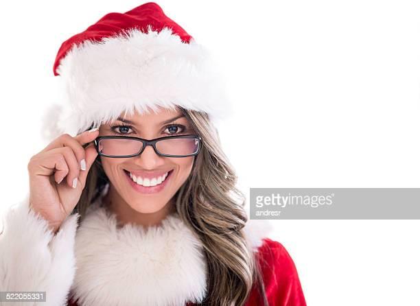 schöne weibliche weihnachtsmann - weihnachtsfrau stock-fotos und bilder
