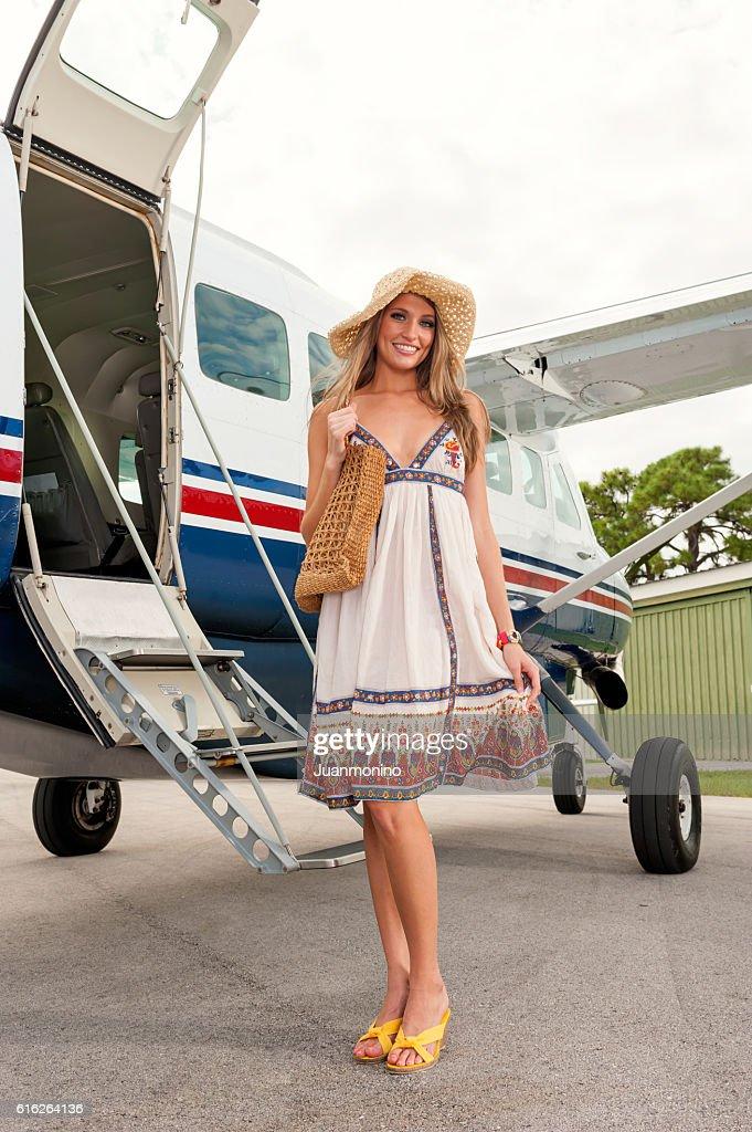 Beautiful female tourist : Stock Photo