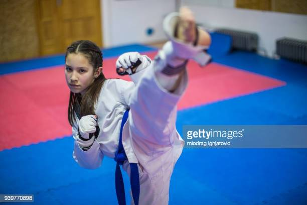 beautiful fighter - taekwondo kids stock photos and pictures