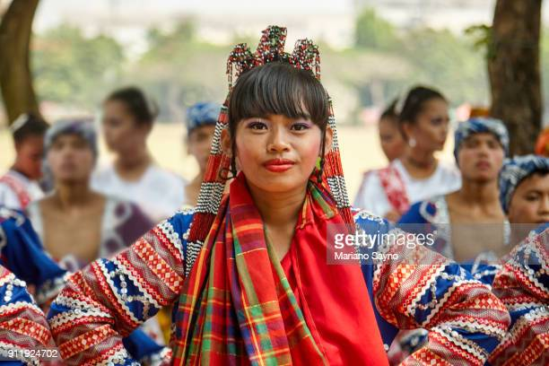 beautiful filipina wearing a festival costume - filipino culture stock pictures, royalty-free photos & images