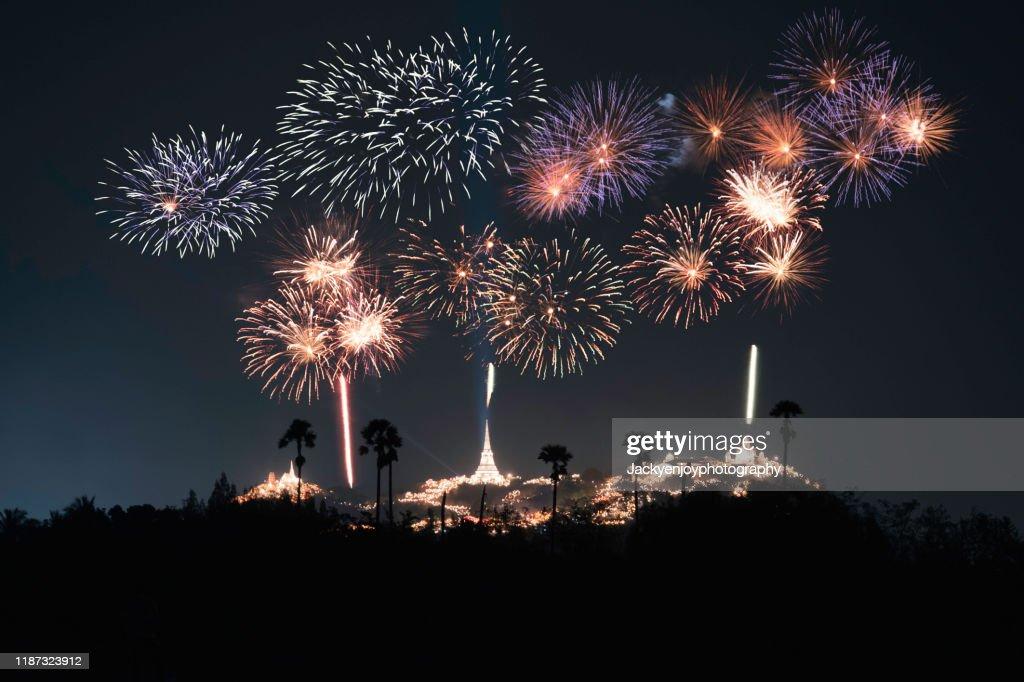 A beautiful fireworks display for celebrations Phra Nakhon Khiri.Phetchaburi : Stock Photo