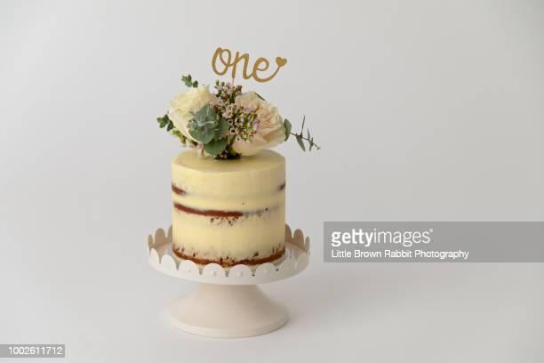 beautiful first birthday cake - first birthday imagens e fotografias de stock