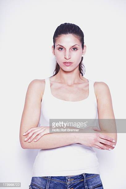 Beautiful fit woman on white background
