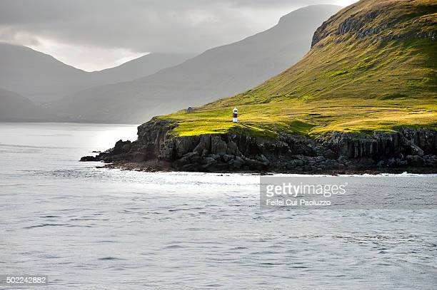 Beautiful fjord and Lighthouse at Eysturoy Island of Faroe Islands