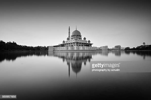 Beautiful floating mosque in black and white