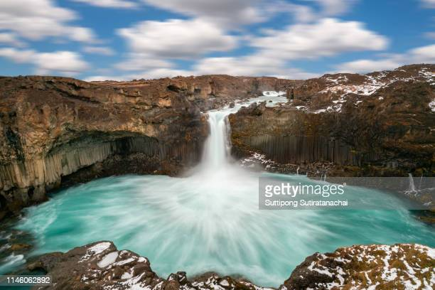 Beautiful flowing amazing and large Waterfall in Iceland. Aldreyjarfoss.