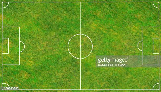 beautiful football field waiting for footballers to compete in the game to find the winning team./top view/aerial shot - voetbalveld stockfoto's en -beelden