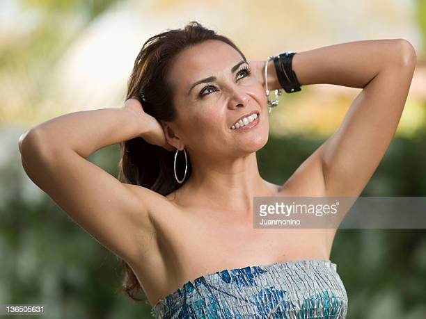 beautiful forty something hispanic woman - female armpits stock pictures, royalty-free photos & images