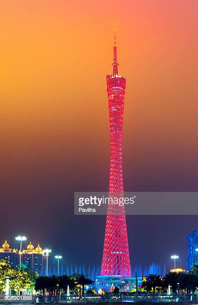beautiful fountain and canton tower,guangzhou, china - pavliha stock photos and pictures