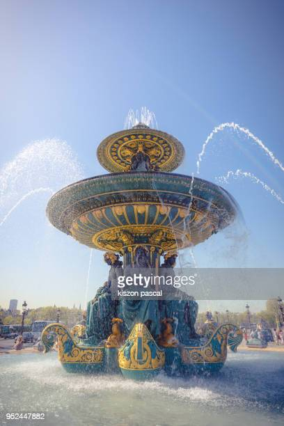 beautiful fountain on Concorde place in Paris during day , France